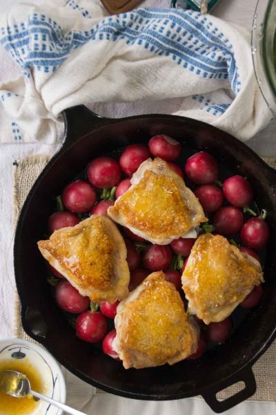 Honey-Lemon Roasted Chicken Thighs & Radishes