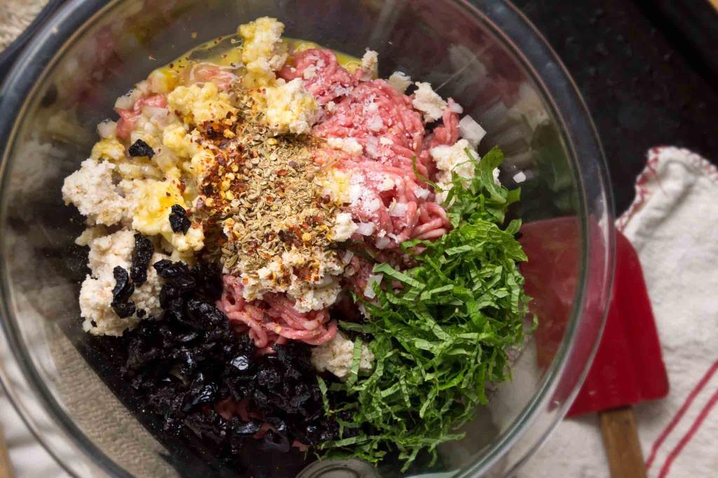 Mixing Lamb Meatballs
