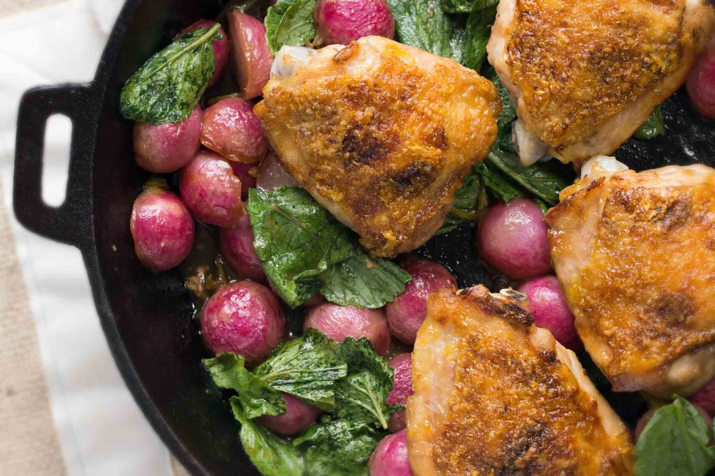 Roasted Chicken Thighs & Radishes