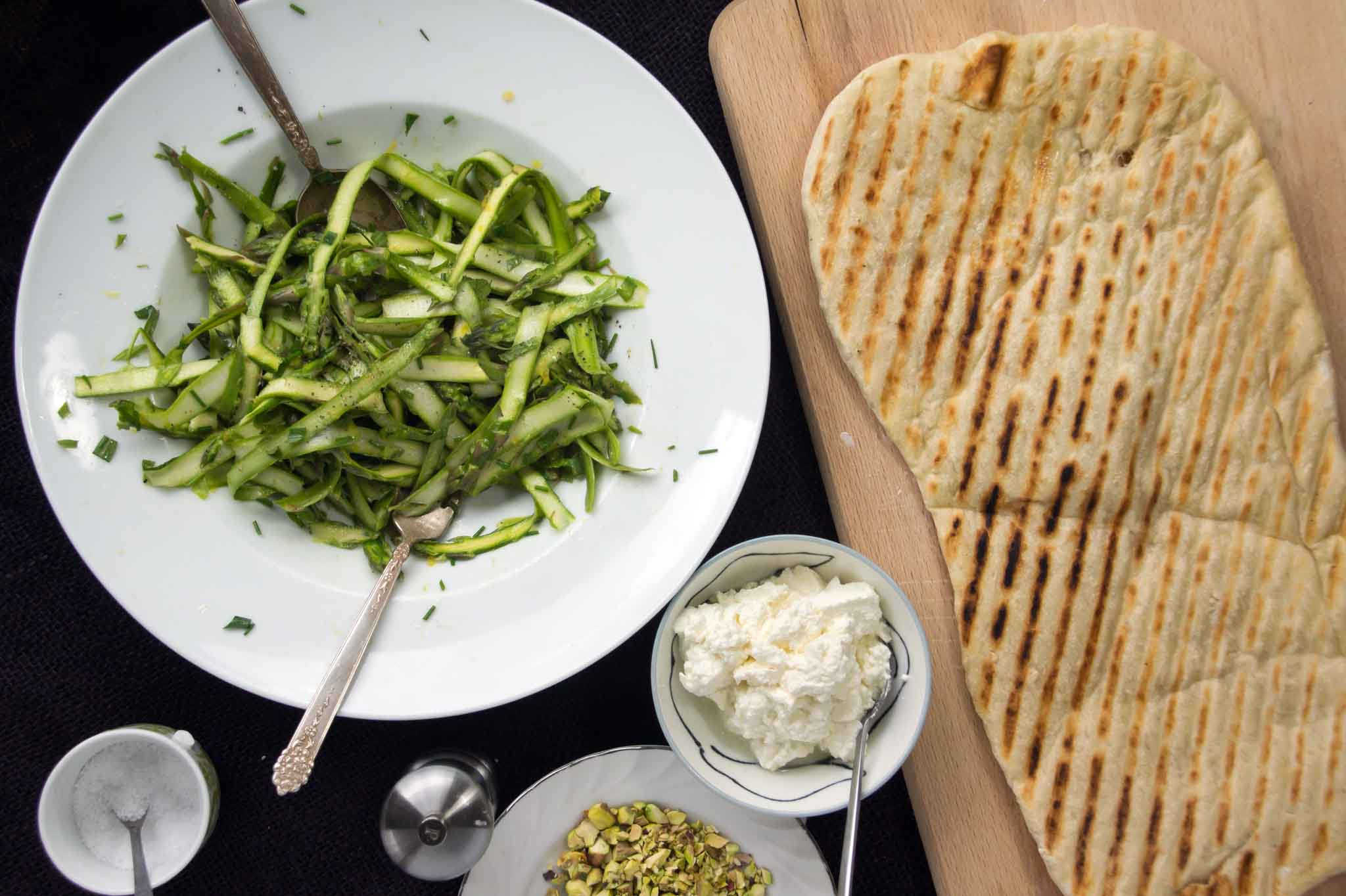 Grilled Flatbread with Asparagus & Herb Salad