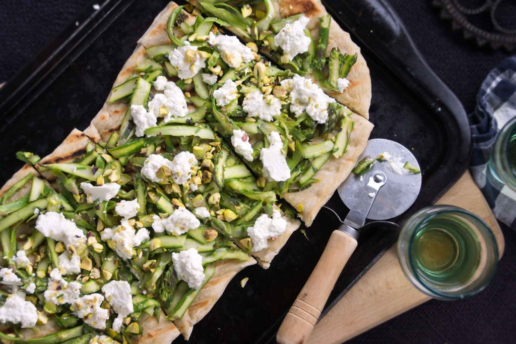 Grilled Flatbread with Asparagus Ribbons & Ricotta