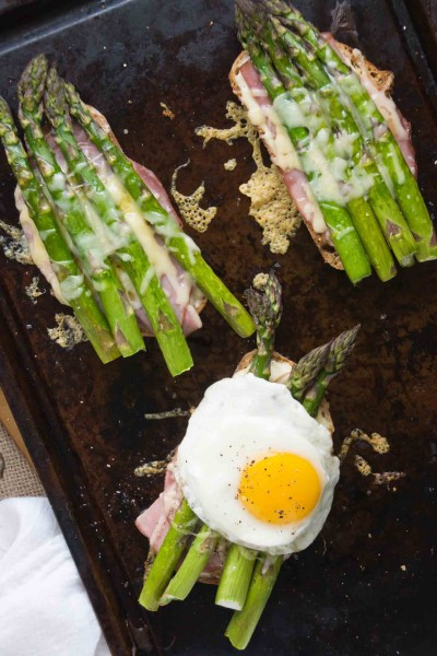 Open Faced Asparagus Croque Madame