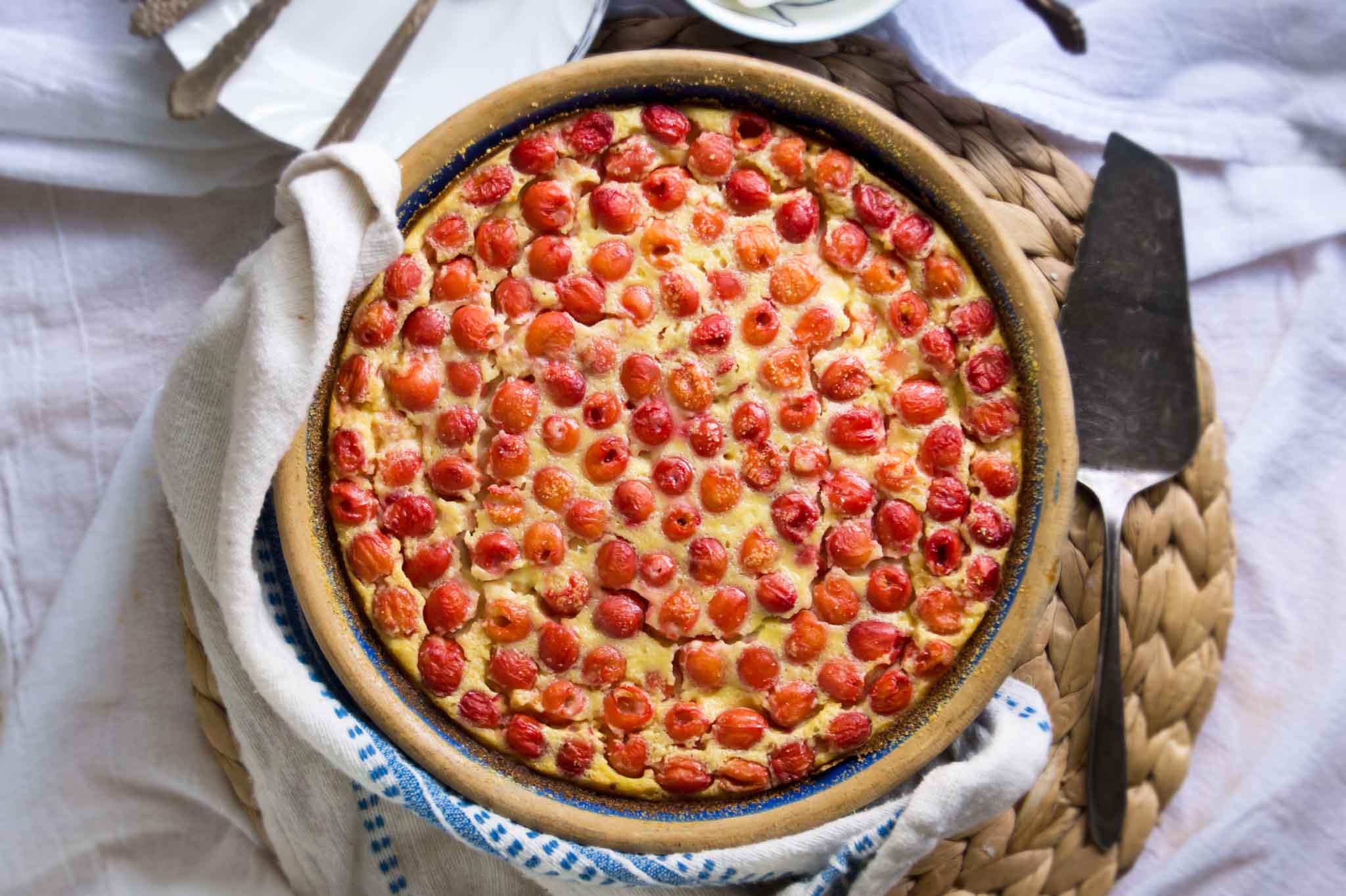 Sour Cherry Cornmeal Clafoutis | strawberryplum