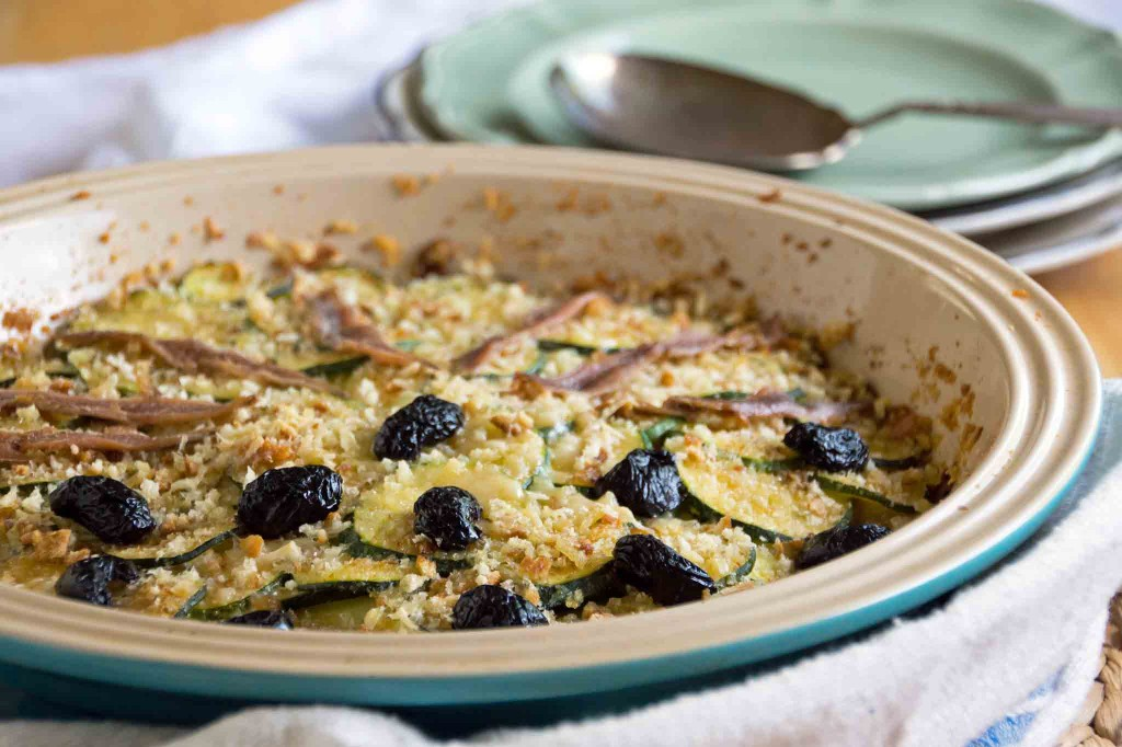 Zucchini, Caramelized Onion & Anchovy Gratin
