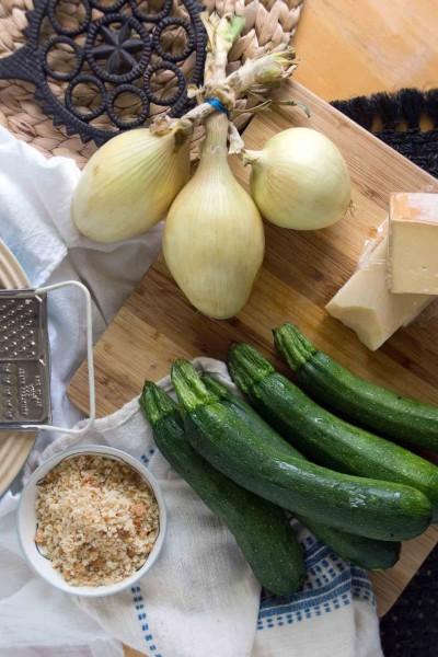Zucchini, Onions, Breadcrumbs, Cheese