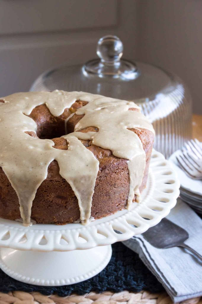 Apple & Walnut Cake with Brown Butter-Maple Glaze