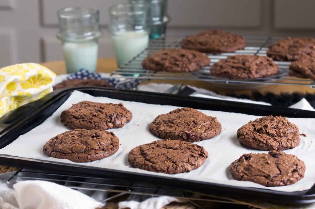 Chewy Chocolate Cookies with Cherries