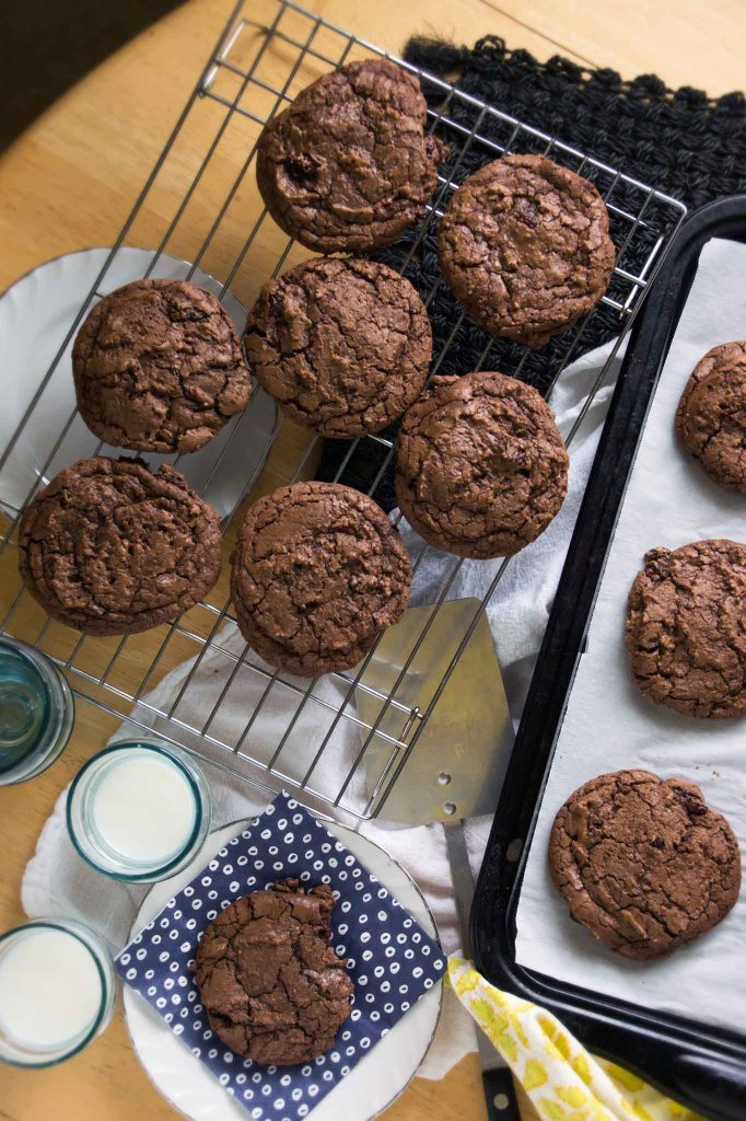 Chewy Double Chocolate Cookies with Rum-Soaked Cherries