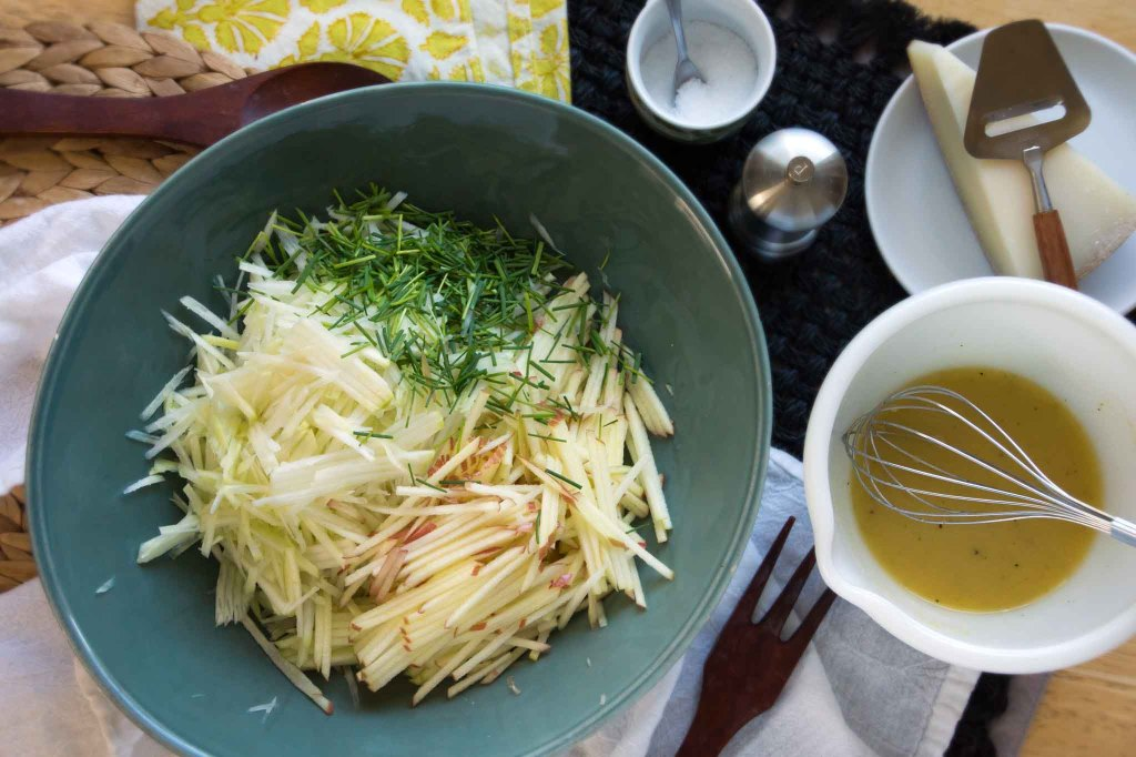 Kohlrabi Slaw with Apples & Cheese