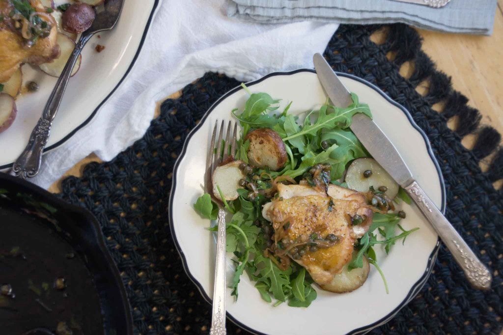 Pan-Roasted Chicken Thighs with Lemon & Caper Sauce