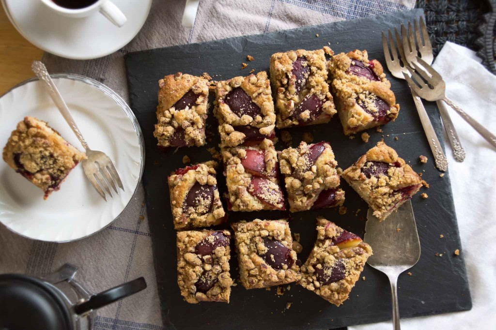 Plum Coffee Cake with Pecan Streusel