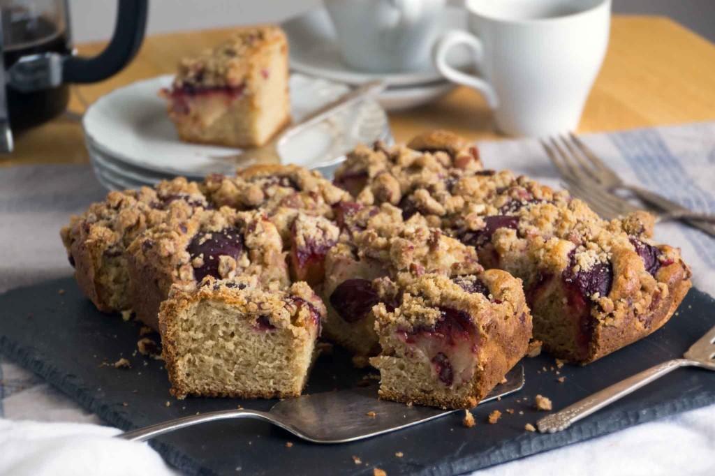 Plum-Pecan Streusel Coffee Cake