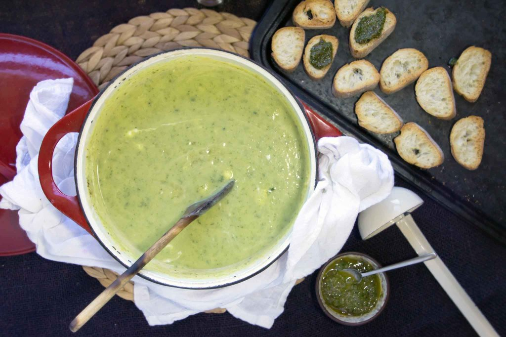 Zucchini & Chevre Soup with Basil-Mint Croutons