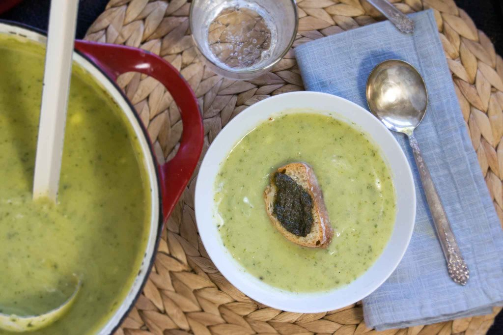 Zucchini & Chevre Soup with Basil & Mint Croutons